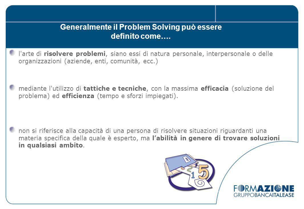 Generalmente il Problem Solving può essere definito come….