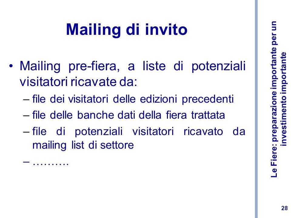 Le Fiere: preparazione importante per un investimento importante 28 Mailing di invito Mailing pre-fiera, a liste di potenziali visitatori ricavate da: