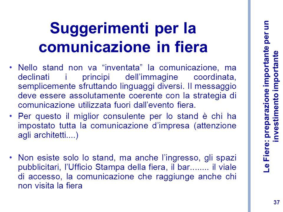 Le Fiere: preparazione importante per un investimento importante 37 Suggerimenti per la comunicazione in fiera Nello stand non va inventata la comunic