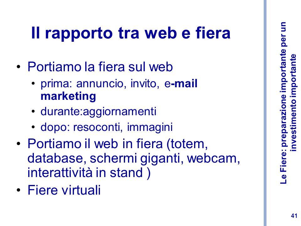 Le Fiere: preparazione importante per un investimento importante 41 Il rapporto tra web e fiera Portiamo la fiera sul web prima: annuncio, invito, e-m