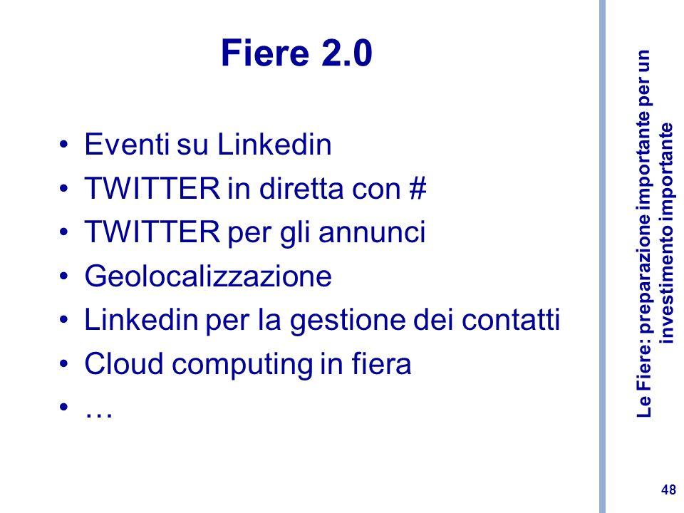 Le Fiere: preparazione importante per un investimento importante 48 Fiere 2.0 Eventi su Linkedin TWITTER in diretta con # TWITTER per gli annunci Geol
