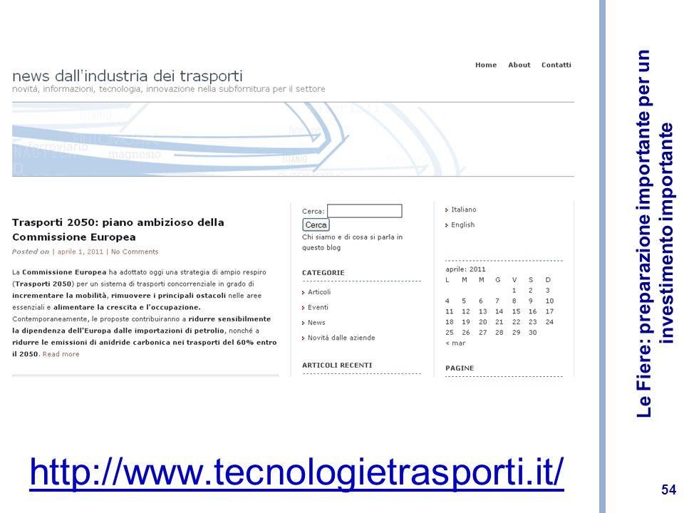 Le Fiere: preparazione importante per un investimento importante 54 http://www.tecnologietrasporti.it/