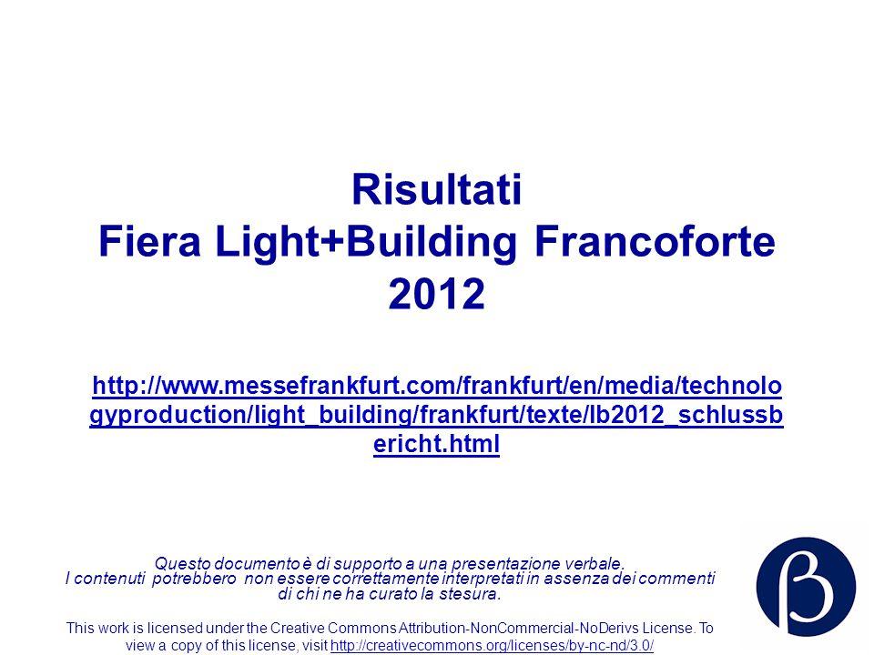 Risultati Fiera Light+Building Francoforte 2012 http://www.messefrankfurt.com/frankfurt/en/media/technolo gyproduction/light_building/frankfurt/texte/