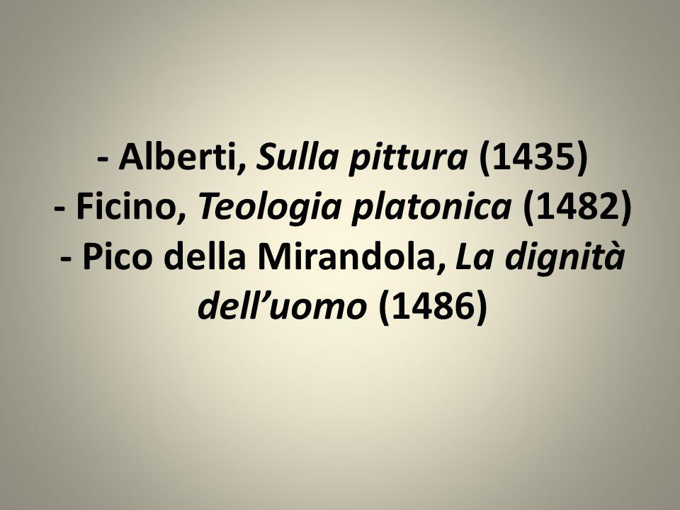 - Alberti, Sulla pittura (1435) - Ficino, Teologia platonica (1482) - Pico della Mirandola, La dignità delluomo (1486)