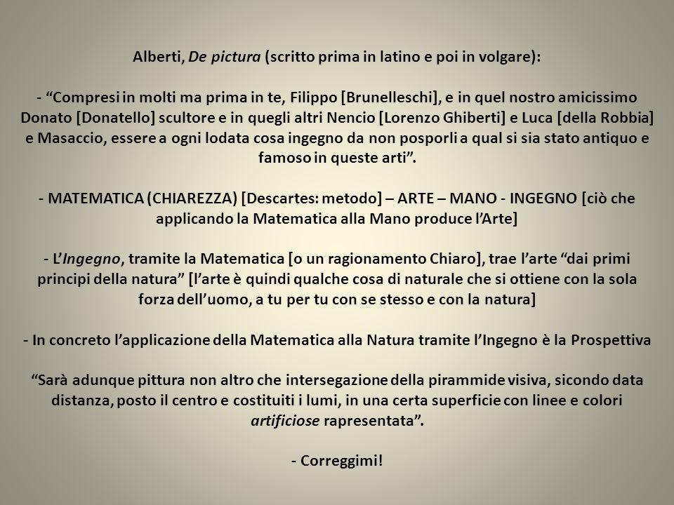 Alberti, De pictura (scritto prima in latino e poi in volgare): - Compresi in molti ma prima in te, Filippo [Brunelleschi], e in quel nostro amicissim