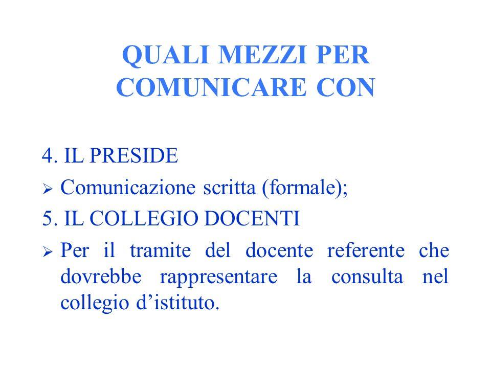 QUALI MEZZI PER COMUNICARE CON 4. IL PRESIDE Comunicazione scritta (formale); 5.