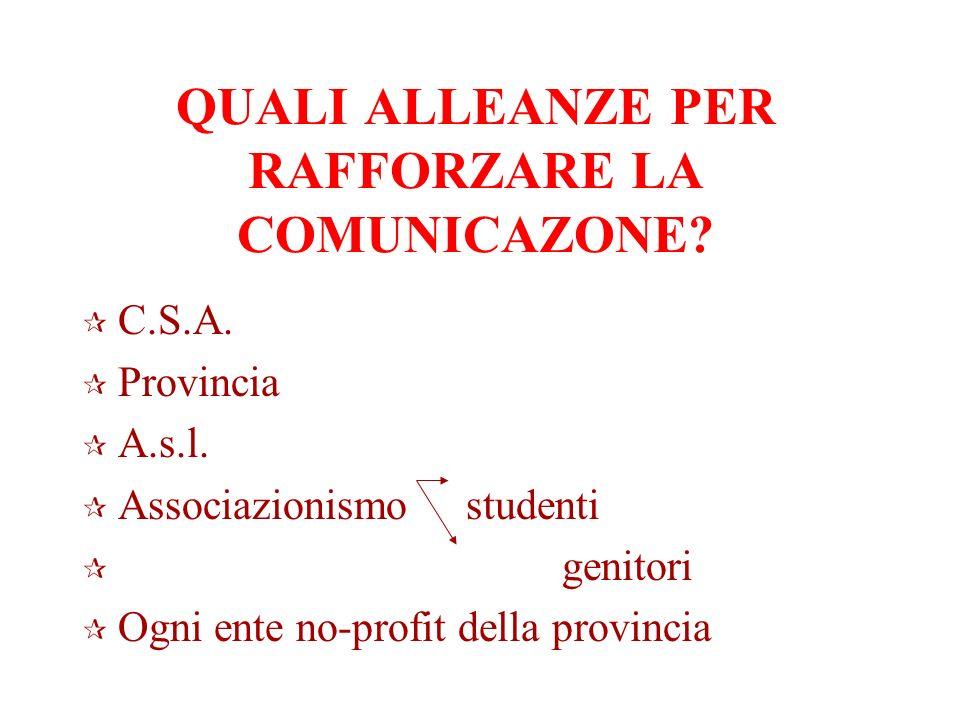 QUALI ALLEANZE PER RAFFORZARE LA COMUNICAZONE. C.S.A.