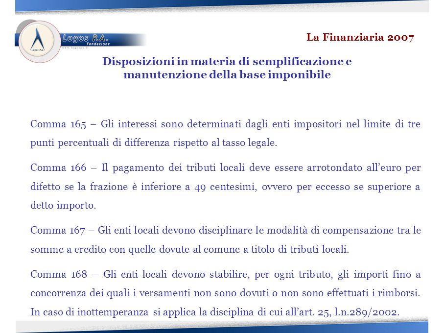 Comma 165 – Gli interessi sono determinati dagli enti impositori nel limite di tre punti percentuali di differenza rispetto al tasso legale.