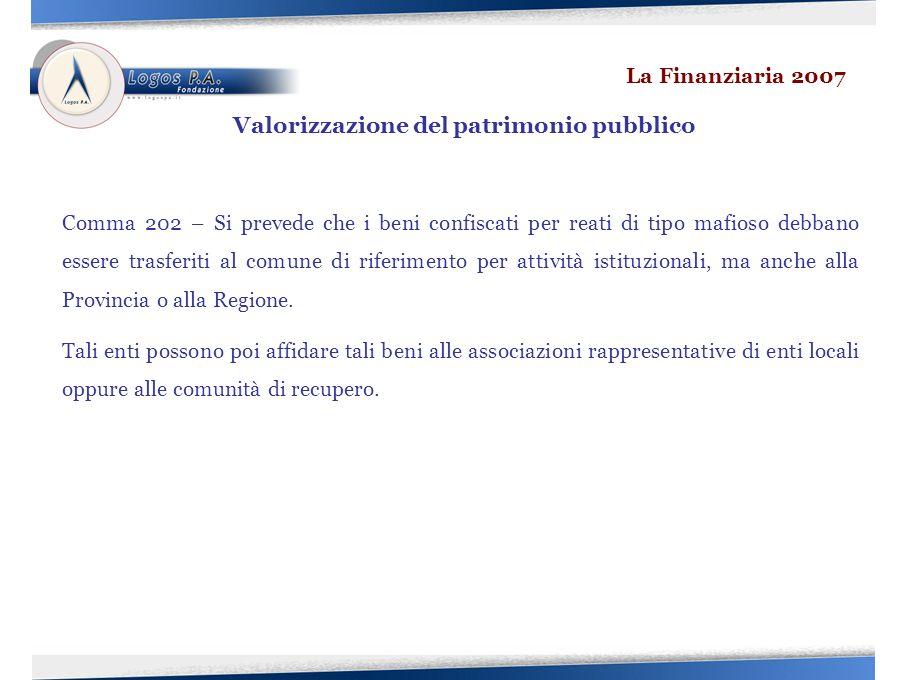 Comma 202 – Si prevede che i beni confiscati per reati di tipo mafioso debbano essere trasferiti al comune di riferimento per attività istituzionali, ma anche alla Provincia o alla Regione.