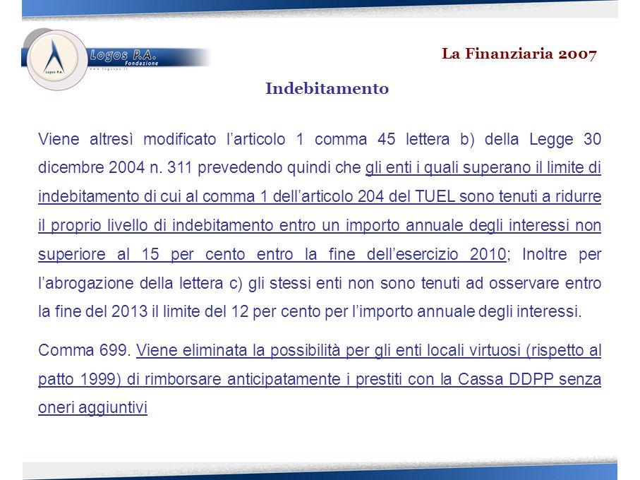 Viene altresì modificato larticolo 1 comma 45 lettera b) della Legge 30 dicembre 2004 n.