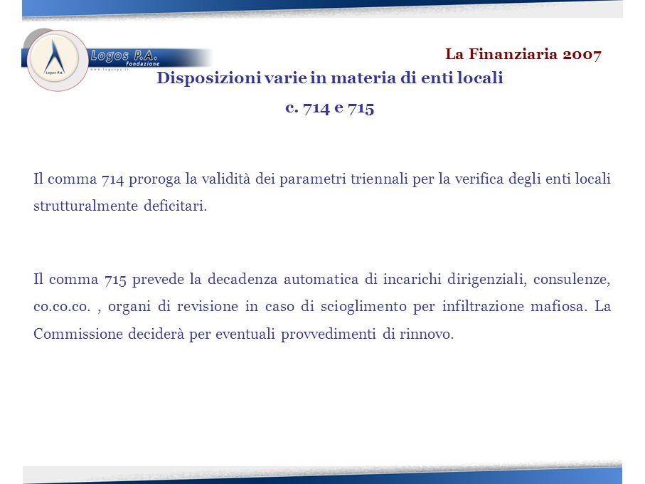 Il comma 714 proroga la validità dei parametri triennali per la verifica degli enti locali strutturalmente deficitari.