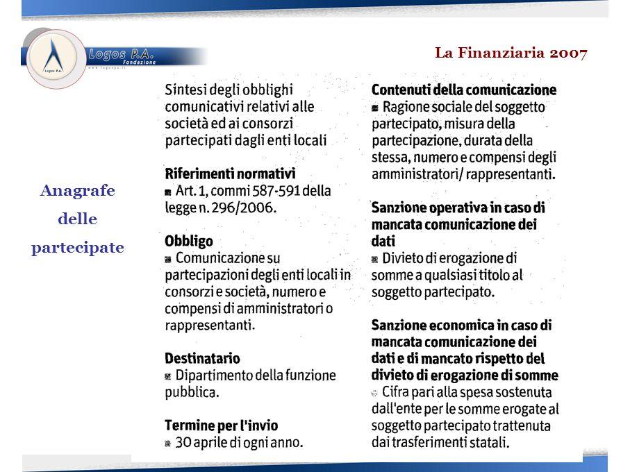 La Finanziaria 2007 Anagrafe delle partecipate