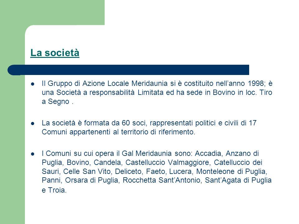 La società Il Gruppo di Azione Locale Meridaunia si è costituito nellanno 1998; è una Società a responsabilità Limitata ed ha sede in Bovino in loc.