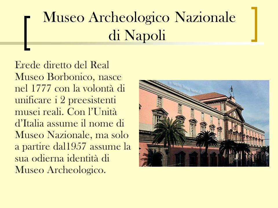 Museo Archeologico Nazionale di Napoli Erede diretto del Real Museo Borbonico, nasce nel 1777 con la volontà di unificare i 2 preesistenti musei reali.