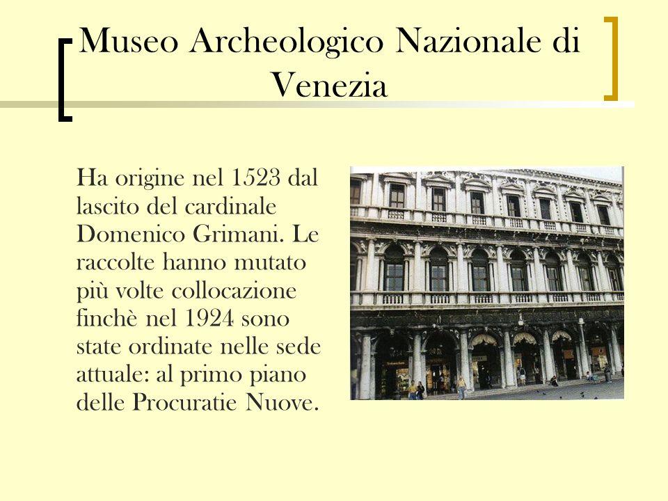 Museo Archeologico Nazionale di Venezia Ha origine nel 1523 dal lascito del cardinale Domenico Grimani. Le raccolte hanno mutato più volte collocazion