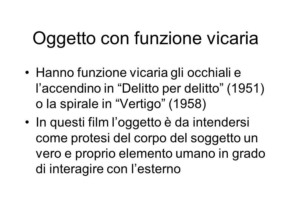 Oggetto con funzione vicaria Hanno funzione vicaria gli occhiali e laccendino in Delitto per delitto (1951) o la spirale in Vertigo (1958) In questi f