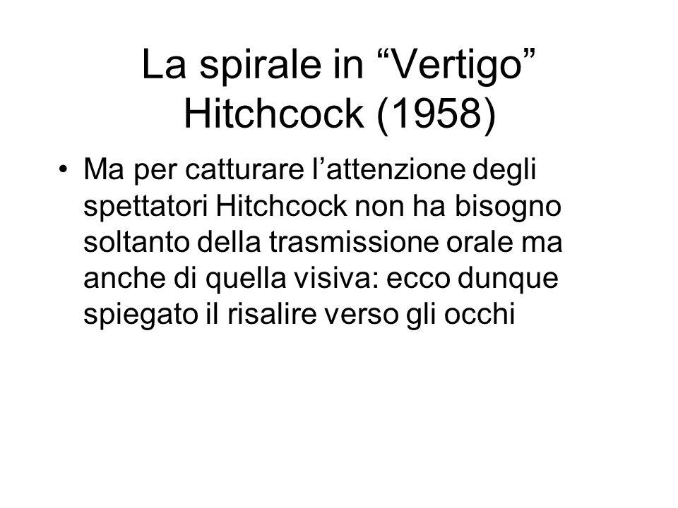 La spirale in Vertigo Hitchcock (1958) Ma per catturare lattenzione degli spettatori Hitchcock non ha bisogno soltanto della trasmissione orale ma anche di quella visiva: ecco dunque spiegato il risalire verso gli occhi