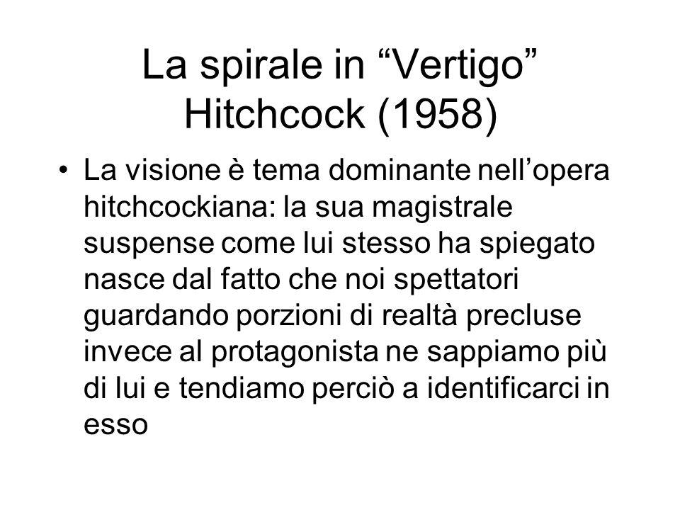 La spirale in Vertigo Hitchcock (1958) La visione è tema dominante nellopera hitchcockiana: la sua magistrale suspense come lui stesso ha spiegato nasce dal fatto che noi spettatori guardando porzioni di realtà precluse invece al protagonista ne sappiamo più di lui e tendiamo perciò a identificarci in esso