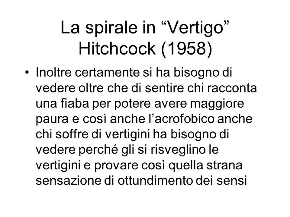 La spirale in Vertigo Hitchcock (1958) Inoltre certamente si ha bisogno di vedere oltre che di sentire chi racconta una fiaba per potere avere maggiore paura e così anche lacrofobico anche chi soffre di vertigini ha bisogno di vedere perché gli si risveglino le vertigini e provare così quella strana sensazione di ottundimento dei sensi