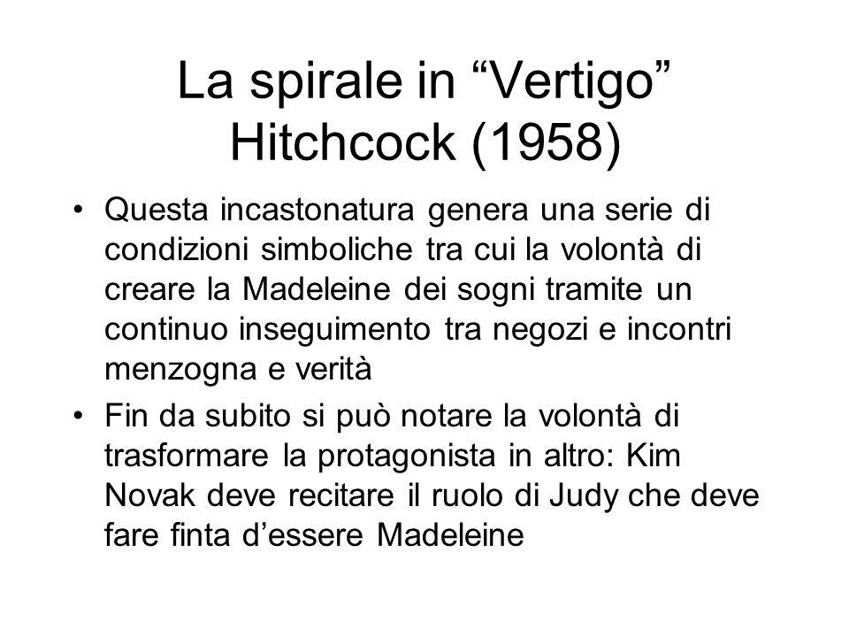 La spirale in Vertigo Hitchcock (1958) Questa incastonatura genera una serie di condizioni simboliche tra cui la volontà di creare la Madeleine dei so