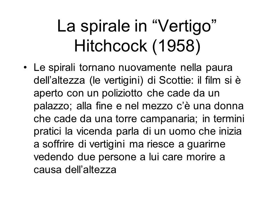 La spirale in Vertigo Hitchcock (1958) Le spirali tornano nuovamente nella paura dellaltezza (le vertigini) di Scottie: il film si è aperto con un pol