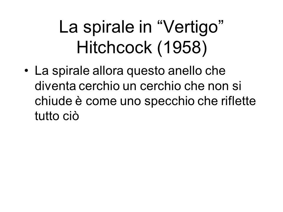La spirale in Vertigo Hitchcock (1958) La spirale allora questo anello che diventa cerchio un cerchio che non si chiude è come uno specchio che riflette tutto ciò