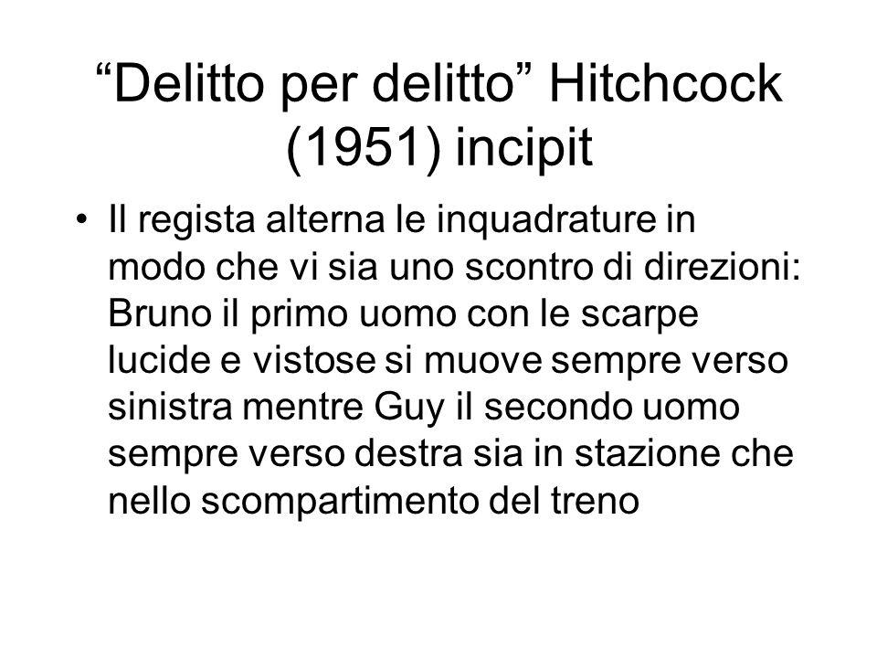Delitto per delitto Hitchcock (1951) incipit Il regista alterna le inquadrature in modo che vi sia uno scontro di direzioni: Bruno il primo uomo con l