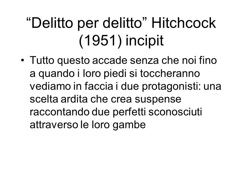 Delitto per delitto Hitchcock (1951) incipit Tutto questo accade senza che noi fino a quando i loro piedi si toccheranno vediamo in faccia i due protagonisti: una scelta ardita che crea suspense raccontando due perfetti sconosciuti attraverso le loro gambe