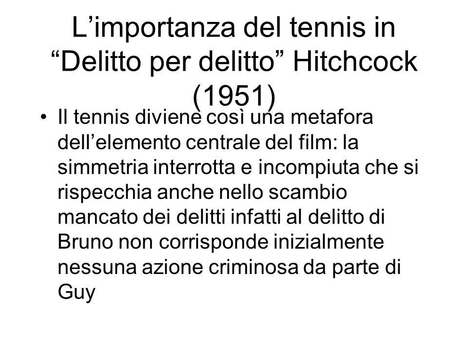 Limportanza del tennis in Delitto per delitto Hitchcock (1951) Il tennis diviene così una metafora dellelemento centrale del film: la simmetria interr