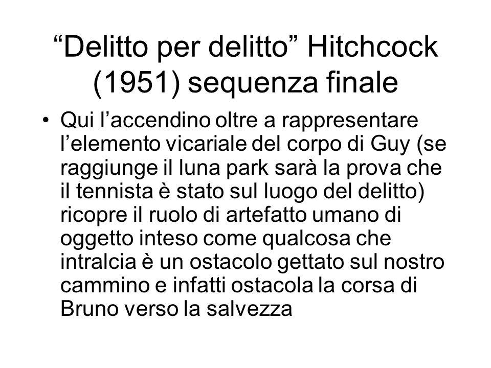 Delitto per delitto Hitchcock (1951) sequenza finale Qui laccendino oltre a rappresentare lelemento vicariale del corpo di Guy (se raggiunge il luna p