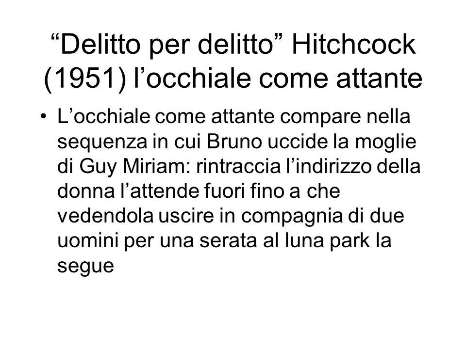 Delitto per delitto Hitchcock (1951) locchiale come attante Locchiale come attante compare nella sequenza in cui Bruno uccide la moglie di Guy Miriam: