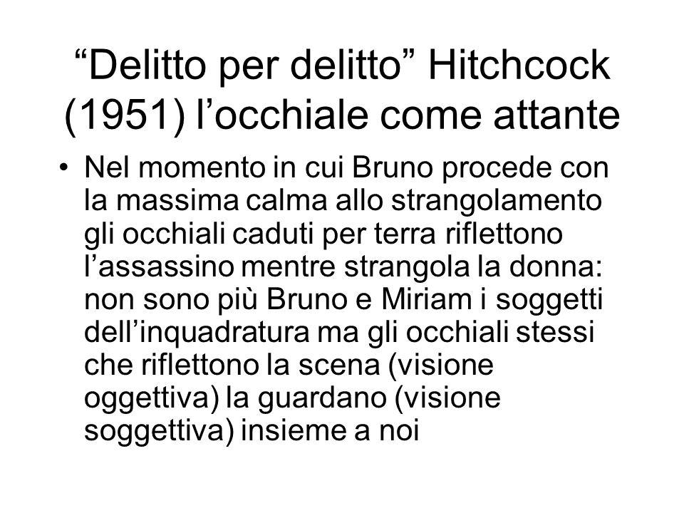Delitto per delitto Hitchcock (1951) locchiale come attante Nel momento in cui Bruno procede con la massima calma allo strangolamento gli occhiali cad