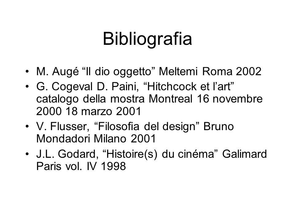 Bibliografia M. Augé Il dio oggetto Meltemi Roma 2002 G. Cogeval D. Paini, Hitchcock et lart catalogo della mostra Montreal 16 novembre 2000 18 marzo