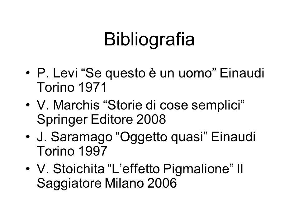 Bibliografia P. Levi Se questo è un uomo Einaudi Torino 1971 V. Marchis Storie di cose semplici Springer Editore 2008 J. Saramago Oggetto quasi Einaud