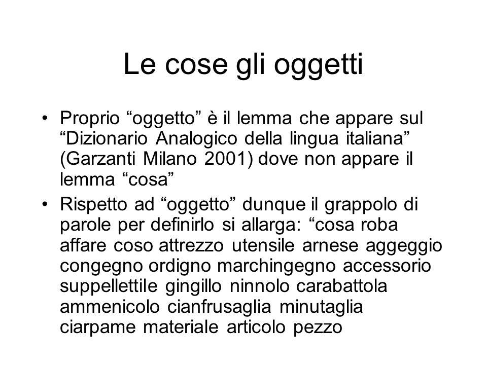 Le cose gli oggetti Proprio oggetto è il lemma che appare sul Dizionario Analogico della lingua italiana (Garzanti Milano 2001) dove non appare il lem