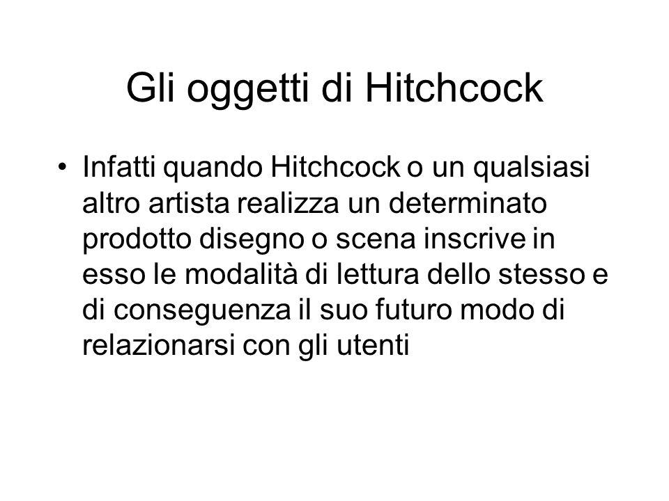 Gli oggetti di Hitchcock Infatti quando Hitchcock o un qualsiasi altro artista realizza un determinato prodotto disegno o scena inscrive in esso le modalità di lettura dello stesso e di conseguenza il suo futuro modo di relazionarsi con gli utenti