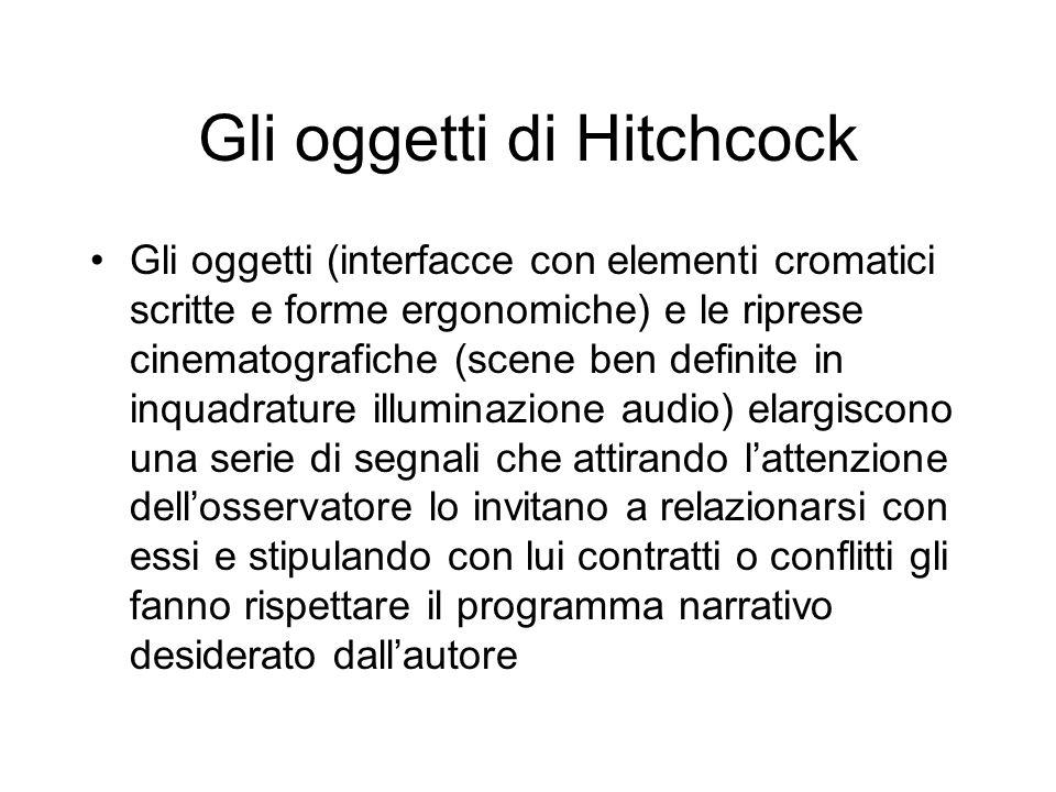 Gli oggetti di Hitchcock Gli oggetti (interfacce con elementi cromatici scritte e forme ergonomiche) e le riprese cinematografiche (scene ben definite