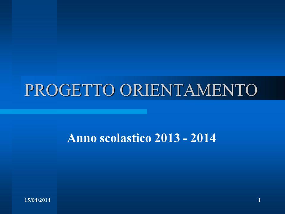 15/04/20141 PROGETTO ORIENTAMENTO Anno scolastico 2013 - 2014