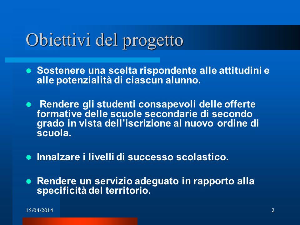 15/04/20142 Obiettivi del progetto Sostenere una scelta rispondente alle attitudini e alle potenzialità di ciascun alunno. Rendere gli studenti consap