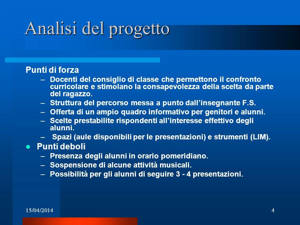 15/04/20144 Analisi del progetto Punti di forza –Docenti del consiglio di classe che permettono il confronto curricolare e stimolano la consapevolezza