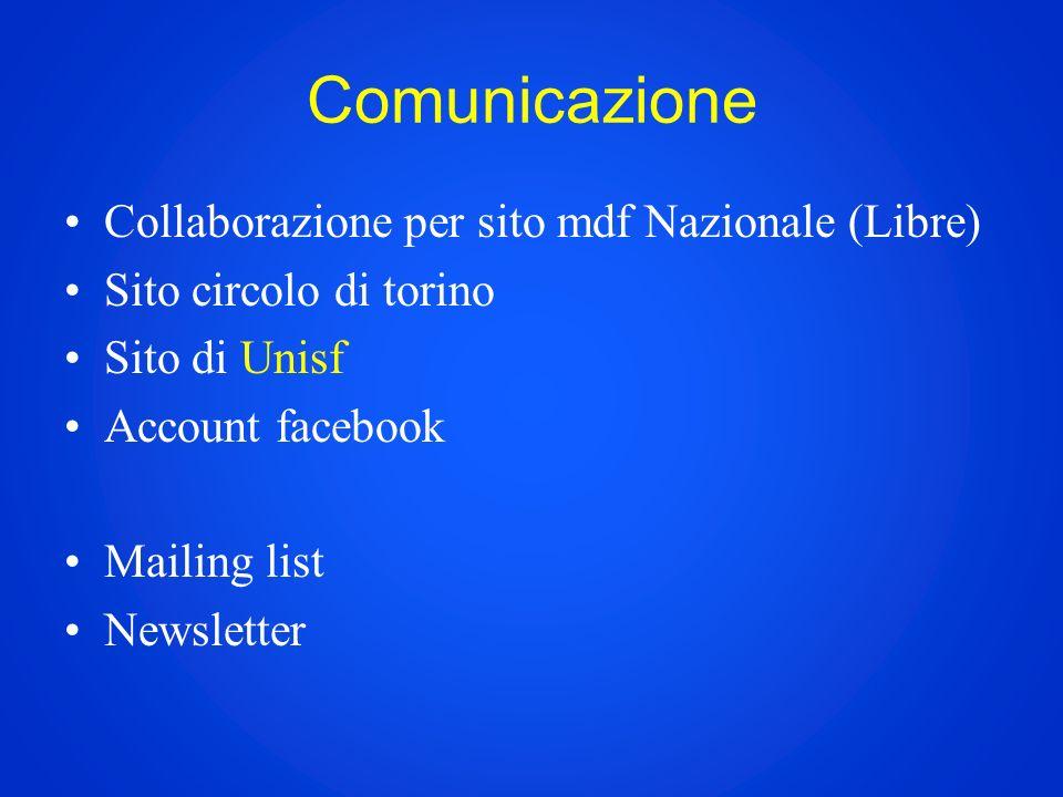 Comunicazione Collaborazione per sito mdf Nazionale (Libre) Sito circolo di torino Sito di Unisf Account facebook Mailing list Newsletter