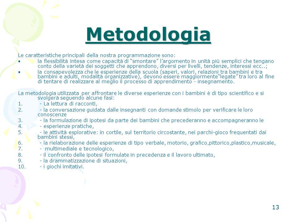 12 Lattività didattico/educativa programmata per lanno scolastico 2009/2010, prevede per la prima parte dellanno, un percorso centrato sullaccoglienza