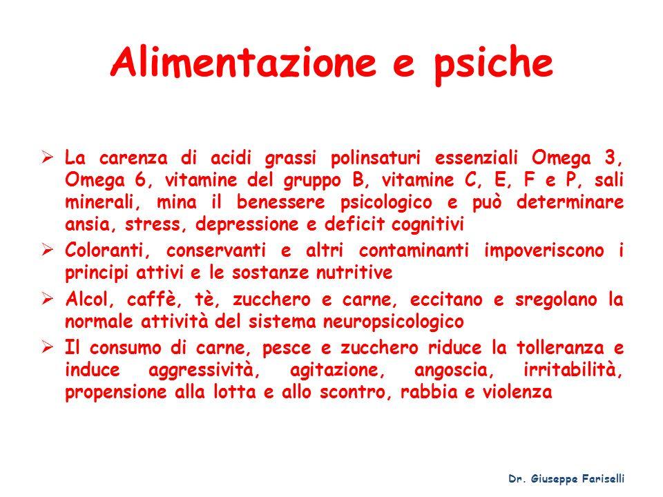 Alimentazione e psiche La carenza di acidi grassi polinsaturi essenziali Omega 3, Omega 6, vitamine del gruppo B, vitamine C, E, F e P, sali minerali,