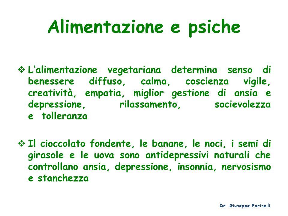 Alimentazione e psiche Lalimentazione vegetariana determina senso di benessere diffuso, calma, coscienza vigile, creatività, empatia, miglior gestione