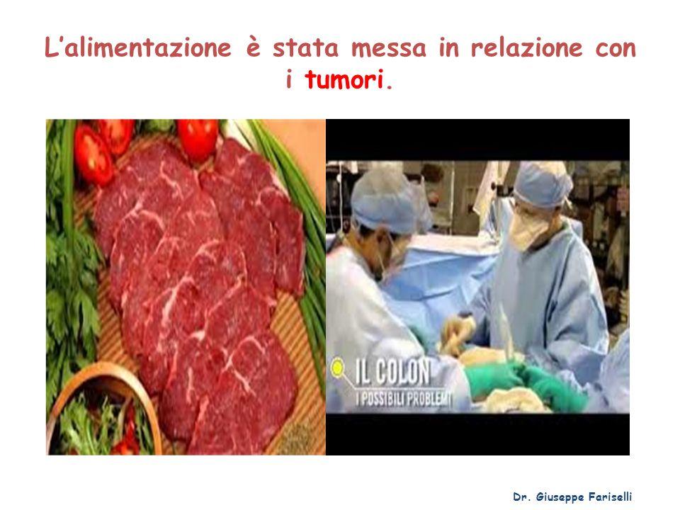Lalimentazione è stata messa in relazione con i tumori. Dr. Giuseppe Fariselli