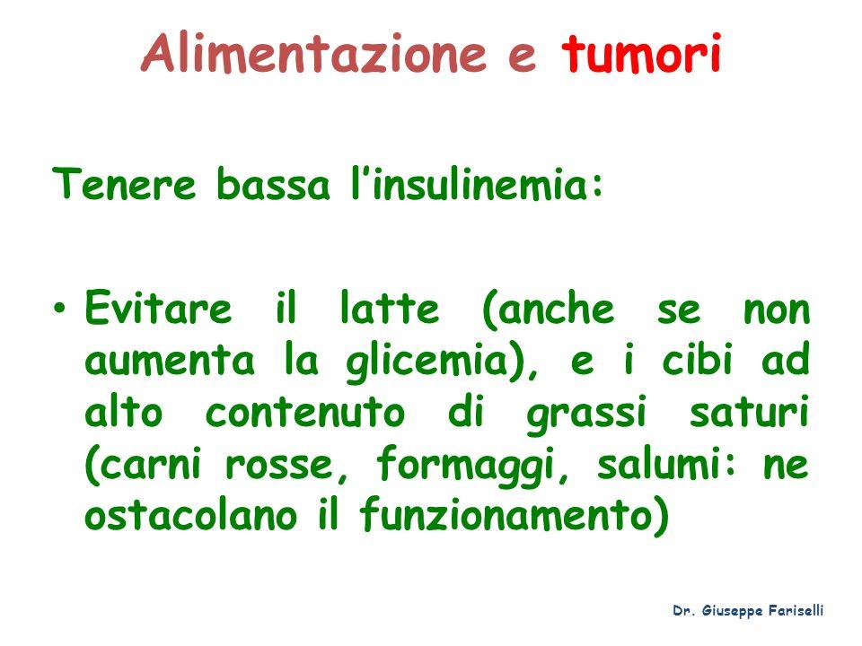 Alimentazione e tumori Tenere bassa linsulinemia: Evitare il latte (anche se non aumenta la glicemia), e i cibi ad alto contenuto di grassi saturi (ca