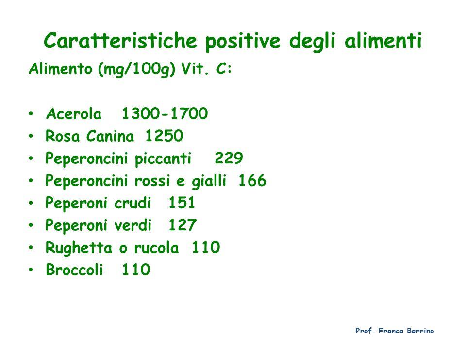 Caratteristiche positive degli alimenti Alimento(mg/100g) Vit. C: Acerola1300-1700 Rosa Canina1250 Peperoncini piccanti229 Peperoncini rossi e gialli1