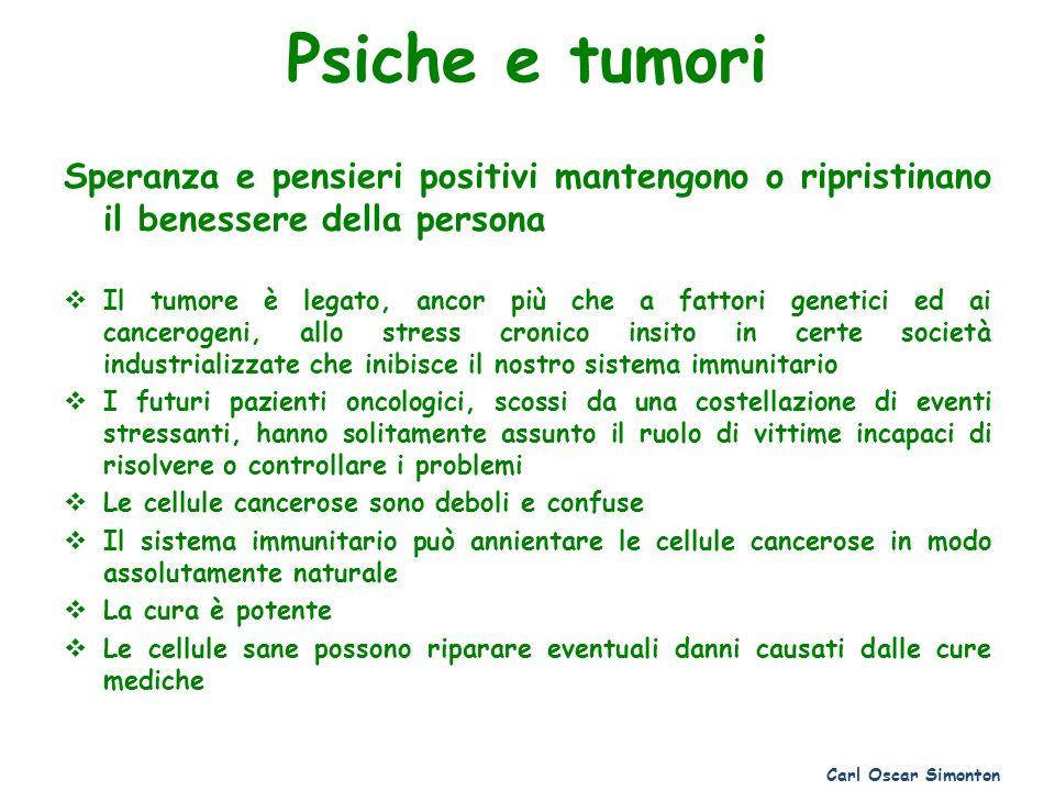 Psiche e tumori Speranza e pensieri positivi mantengono o ripristinano il benessere della persona Il tumore è legato, ancor più che a fattori genetici