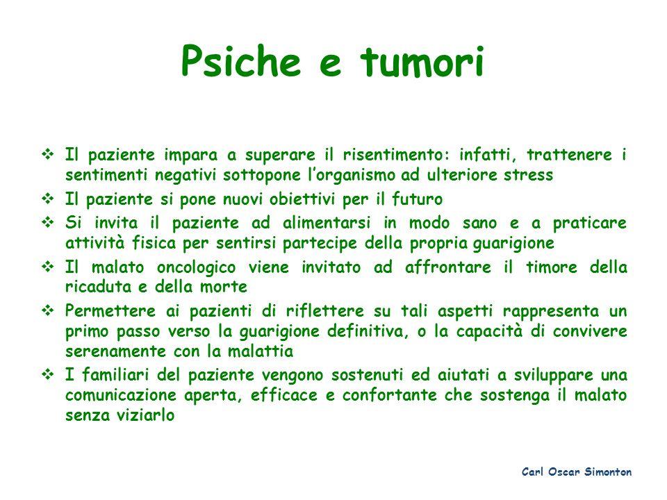 Psiche e tumori Il paziente impara a superare il risentimento: infatti, trattenere i sentimenti negativi sottopone lorganismo ad ulteriore stress Il p