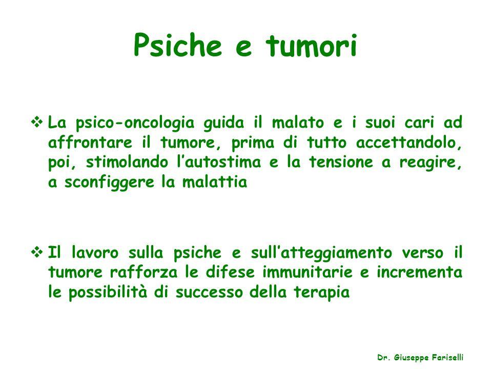 Psiche e tumori La psico-oncologia guida il malato e i suoi cari ad affrontare il tumore, prima di tutto accettandolo, poi, stimolando lautostima e la
